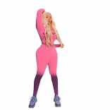 Pink Long Sleeve Zipper Printed Sexy Sport Jumpsuit