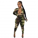 Green Long Sleeve Zipper Bodycons Printed Sexy Jumpsuit