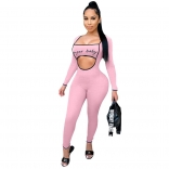 Pink Long Sleeve Low-Cut Printed Sexy Jumpsuit