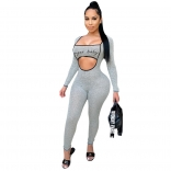 Grey Long Sleeve Low-Cut Printed Sexy Jumpsuit