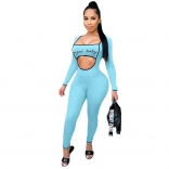Blue Long Sleeve Low-Cut Printed Sexy Jumpsuit