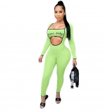 Green Long Sleeve Low-Cut Printed Sexy Jumpsuit