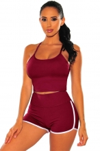 Red Halter Low-Cut 2PCS Sexy Sports Short Sets