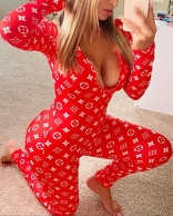 Red Long Sleeve Printed Deep V-Neck Bodycon Sexy Jumpsuit