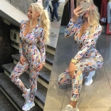 Colors Long Sleeve Printed Deep V-Neck Bodycon Sexy Jumpsuit