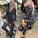 Black Long Sleeve Printed Deep V-Neck Bodycon Sexy Jumpsuit