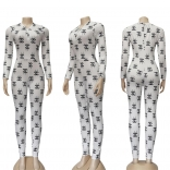 White Long Sleeve Printed Deep V-Neck Bodycon Sexy Jumpsuit