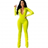 Yellow LonG Sleeve Deep V-Neck Bodycons Women Jumpsuit