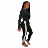Black Long Sleeve Sexy Printed Women Sports Jumpsuit