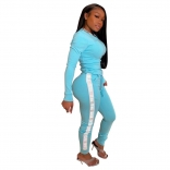 SkyBlue Long Sleeve Sexy Printed Women Sports Jumpsuit