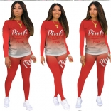 Red Long Sleeve Printed 2PCS Women Fashion Jumpsuit