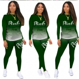 Green Long Sleeve Printed 2PCS Women Fashion Jumpsuit