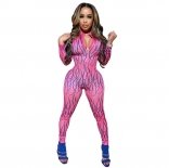 RoseRed Long Sleeve Printed Bodycons Hollow-out Sexy jumpsuit
