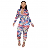 Blue Long Sleeve Printed Bodycons Hollow-out Sexy jumpsuit