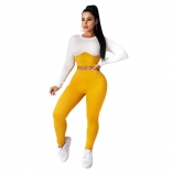 Yellow Long Sleeve O-Neck Cottons Bodycons Sexy Jumpsuit