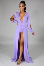 Purple Long Sleeve Slit Deep V-Neck Belted Sexy Maxi Dress With Pant
