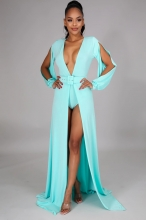 Blue Long Sleeve Slit Deep V-Neck Belted Sexy Maxi Dress With Pant