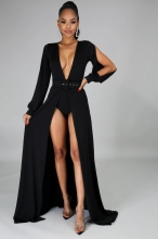 Black Long Sleeve Slit Deep V-Neck Belted Sexy Maxi Dress With Pant
