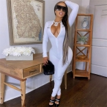 White Long Sleeve Deep V-Neck Bodycons Sexy Jumpuit