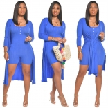 Blue Long Sleeve Bodycons Rompers Women Catsuit Dress