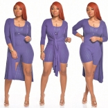 Purple Long Sleeve Bodycons Rompers Women Catsuit Dress