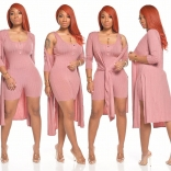 Pink Long Sleeve Bodycons Rompers Women Catsuit Dress