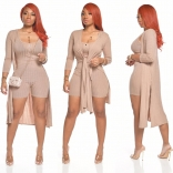 Beige Long Sleeve Bodycons Rompers Women Catsuit Dress