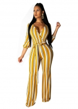 Yellow Long Sleeve Stripes Women Printed Jumpsuit