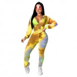 Yellow Long Sleeve V-Neck Printed 2PCS Corsets Jumpsuit Dress
