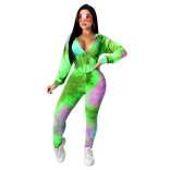 Green Long Sleeve V-Neck Printed 2PCS Corsets Jumpsuit Dress
