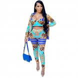 Blue Long Sleeve V-Neck 3PCS Printed Women Sexy Jumpsuit