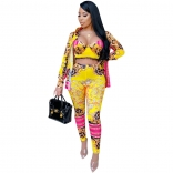 Yellow Long Sleeve V-Neck 3PCS Printed Women Sexy Jumpsuit