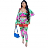 RoseRed Long Sleeve V-Neck 3PCS Printed Women Sexy Jumpsuit