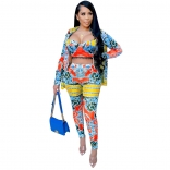Red Long Sleeve V-Neck 3PCS Printed Women Sexy Jumpsuit