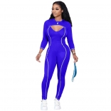 Blue Long Sleeve Little Coat Bodycons Sexy Jumpsuit