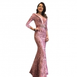 Pink Long Sleeve V-Neck Sequins Bodycon Evening Maxi Dress