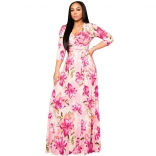 Pink Seven Sleeve Printed V-Neck Women Maxi Dress