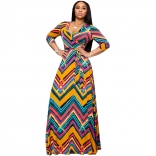 Yellow Seven Sleeve Printed V-Neck Women Maxi Dress