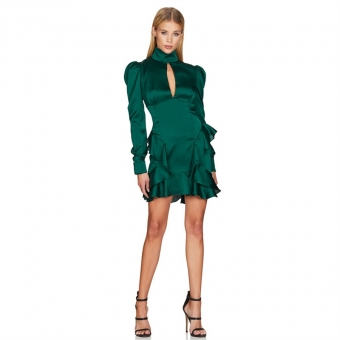 Green Long Sleeve Foral Women Sexy Mini Dress