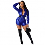 Blue Long Sleeve Sexy V-Neck Leather Club Rompers