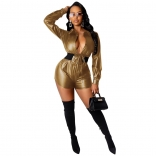Golden Long Sleeve Sexy V-Neck Leather Club Rompers