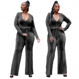 Silver Long Sleeve V-Neck Silk Women Fashion Jumpsuit