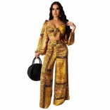 Yellow Long Sleeve V-Neck Printed Women Jumpsuit
