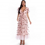 Pink Short Mesh Sleeve Sequins Women Fashion Maxi Dress