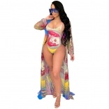 Yellow Long Sleeve Mesh Printed 2PCS Women Bikini Wear