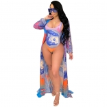 Blue Long Sleeve Mesh Printed 2PCS Women Bikini Wear