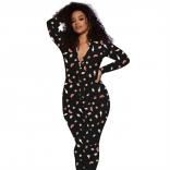 Black Long Sleeve V-Neck Women Sexy Sports Printed Jumpsuit