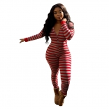 Red Long Sleeve V-Neck Women Sexy Sports Printed Jumpsuit