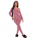 Pink Long Sleeve V-Neck Women Sexy Sports Printed Jumpsuit