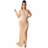 Beige Long Sleeve Deep V-Neck Rainstones Mesh Women Maxi Evening Dress
